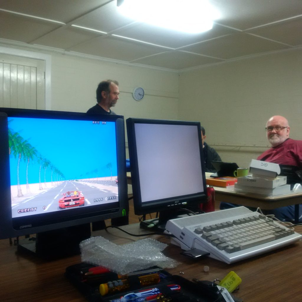 Arcade version of Outrun running on an Amiga 600